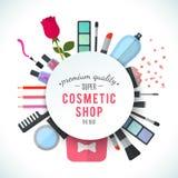 专业质量化妆用品商店时髦的传染媒介商标 免版税库存图片