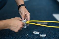专家用RJ45插口连接一网络缆绳,放置局部网络的过程 集合 免版税图库摄影