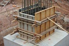 专栏由木材和胶合板做的树桩模板 图库摄影