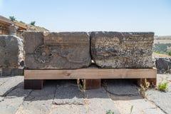 专栏遗骸在Dir阿齐兹犹太教堂的废墟的,修造在拜占庭式的期间,在6世纪广告初 库存照片