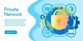 专用网,在平的设计的传染媒介例证的概念 免版税库存照片