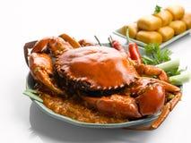 专辑油煎了螃蟹用辣味番茄酱并且油煎了在白色的饺子 免版税库存图片