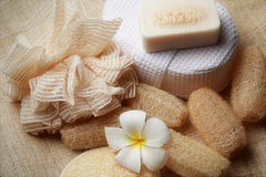 专辑洗刷在为健康皮肤设置的温泉的肥皂 图库摄影