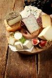 专长乳酪的分类在盛肉盘的 图库摄影