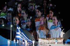 专题歌子项歌唱希腊国民 免版税库存图片