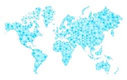 世界Ðœap与时髦三角设计的 地球地图多角形滤网  库存图片