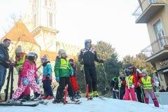 世界与伊维察Kostelic的雪天 免版税库存图片
