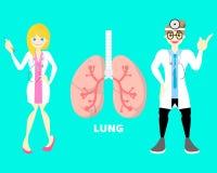 世界与医生的没有烟草天医疗内脏解剖学手术身体局部神经系统肺医疗保健 库存例证