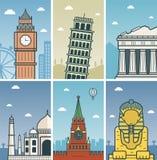 世界与城市地平线的地标设计 伦敦、比萨、雅典、阿格拉、莫斯科和吉萨棉市地平线设计与 库存例证