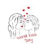 世界亲吻天 亲吻爱恋的夫妇 男人和妇女 图库摄影
