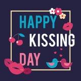 世界亲吻的天 传染媒介例证为假日 免版税库存图片
