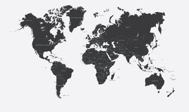 世界传染媒介的黑白政治地图 库存照片