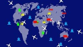 世界全球性运输 背景蓝色屏幕 4K动画 皇族释放例证