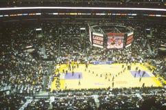 世界冠军洛杉矶湖人队,美国职篮篮球比赛,斯台普斯中心,洛杉矶,加州 免版税库存照片
