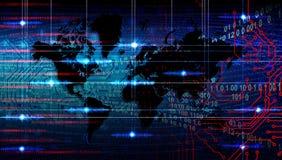 世界创业贷款及科技横幅背景 未来派背景,网际空间概念 免版税库存图片