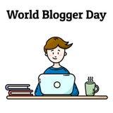 世界博客作者天明信片 有膝上型计算机的男孩 向量例证