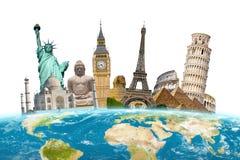 世界周围的行星地球的著名地标 免版税库存照片