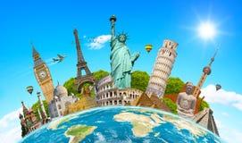 世界周围的行星地球的著名地标 免版税库存图片