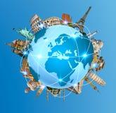 世界周围的行星地球的著名纪念碑 免版税库存照片