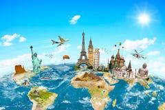 世界周围的行星地球的著名纪念碑 免版税图库摄影