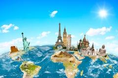 世界周围的行星地球的著名纪念碑 库存照片