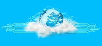 世界和云彩连接 库存照片