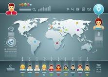 世界和人们Infographics 向量例证