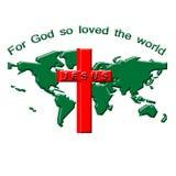 世界和十字架例证 免版税库存图片