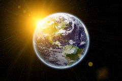 世界和太阳的地球纹理由美国航空航天局 gov. 库存照片