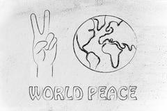 世界和平和幸福,做和平标志和地球的手 免版税库存图片