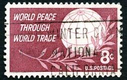 世界和平通过商业美国邮票 库存图片