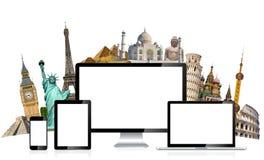 世界和技术设备的著名纪念碑在白色backgrou 免版税库存照片