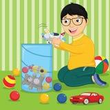 与玩具传染媒介例证的孩子 免版税库存图片