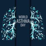 世界哮喘天横幅 免版税库存图片
