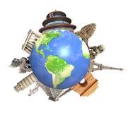 世界围拢的著名纪念碑行星地球 免版税图库摄影