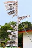 世界在一个路标的目的地标志在Neiafu,汤加 库存照片