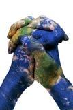 世界在您的手(美国航空航天局装备的地球地图上) 免版税图库摄影