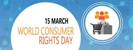 世界在3月15日背景的消费者权益天 免版税库存图片