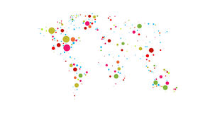 世界地图上色了小点4K动画和保存与阿尔法通道 向量例证