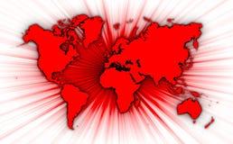 世界地图与starburst的在背景 库存照片