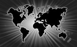 世界地图与starburst的在背景 免版税库存照片