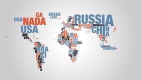 世界地图五颜六色的词云彩在4k决议的 影视素材