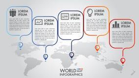 世界地图企业infographics 5个步选择导航与尖标记的例证和设计模板 向量例证