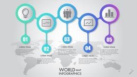 世界地图企业infographics 5个步选择导航与尖标记的例证和设计模板 库存例证