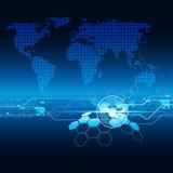 世界地图几何蓝色颜色背景 免版税库存图片