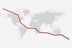 世界地图和一张红色秋天图表在它的背景 库存图片