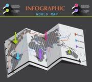 世界地图和信息图表在被折叠的纸 库存图片