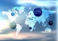 世界地图和信息图表 图库摄影