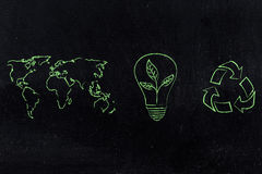 世界地图和在有叶子生长的电灯泡旁边回收商标 库存图片