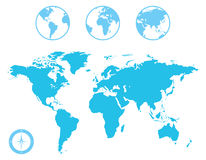 世界地图和地球象 免版税库存照片